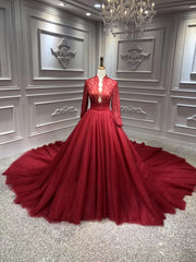 Red long sleeves ball gown prom dress