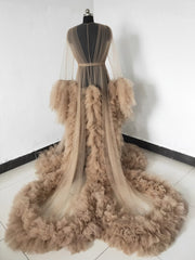 onlybridals Tan Maternity Robe Strapless Ruffled Tulle Dress Free Customized Size Color