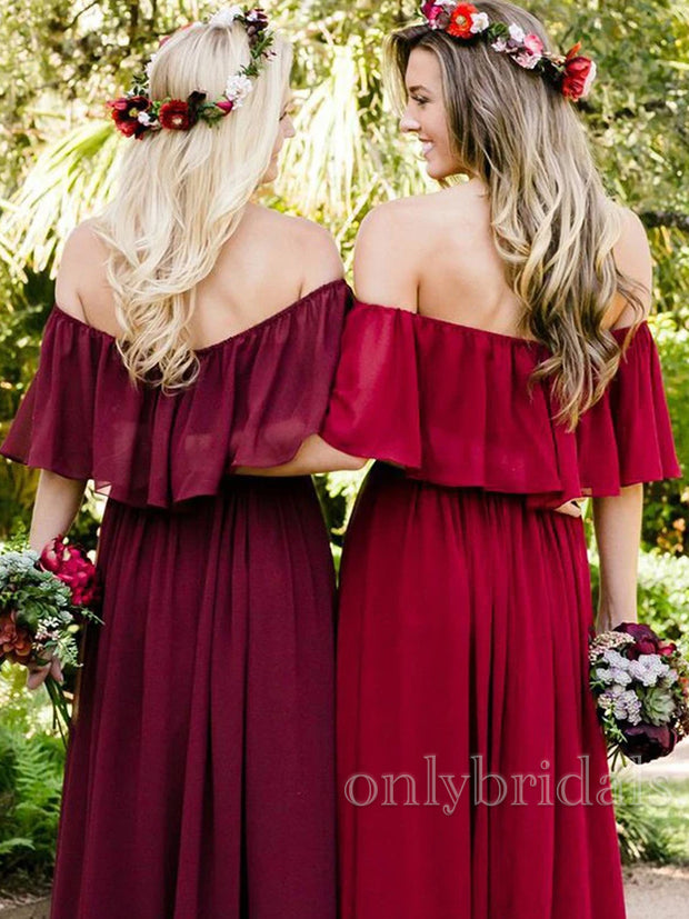onlybridals Chiffon Off-the-Shoulder Floor-Length Bridesmaids Dresses - onlybridals