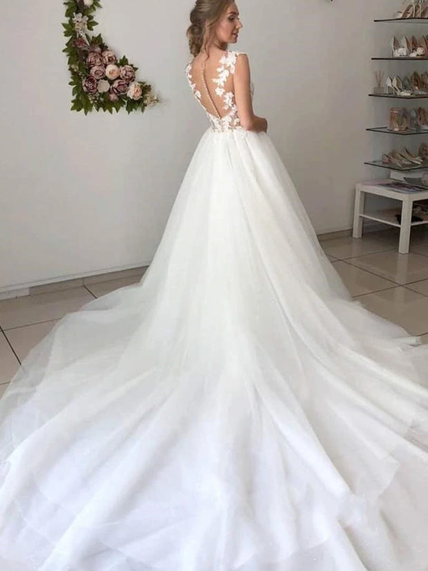 A-line Light Ivory Tulle Lace Wedding Dresses, Bridal Gown Long Bridal Gown