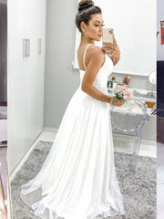 onlybridals V Neck Thin Straps White Long Prom Dresses Simple Formal Graduation Evening Dress