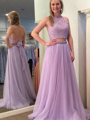 Lilac Halter Two Pieces Beaded Prom Dresses, Evening Dress