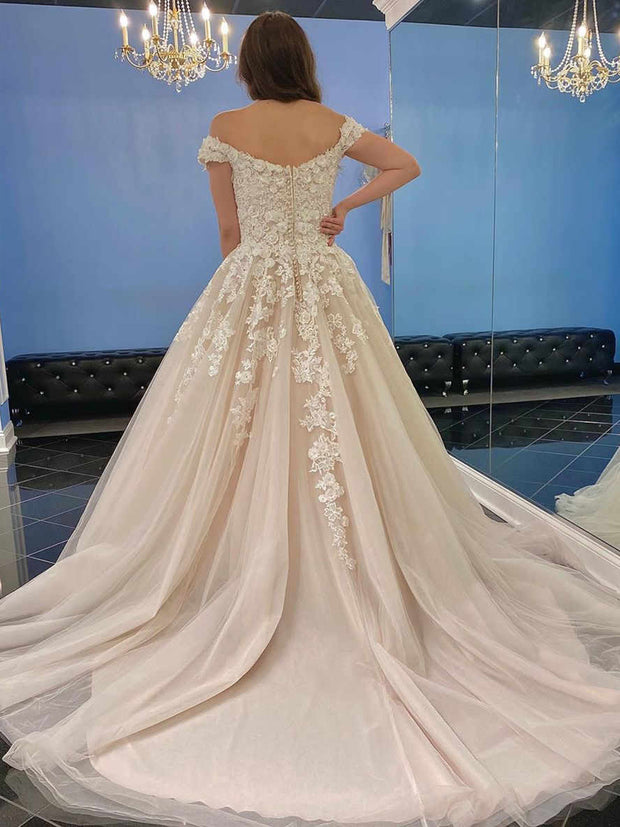 Off Shoulder Lace Prom Dresses A-line Prom Dresses, Tulle Prom Dresses Wedding Dresses