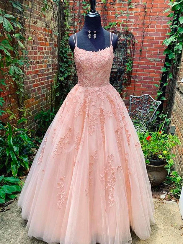 onlybridals A Line Pink Lace Long Prom Dresses Lace Pink Formal Graduation Evening Dresses