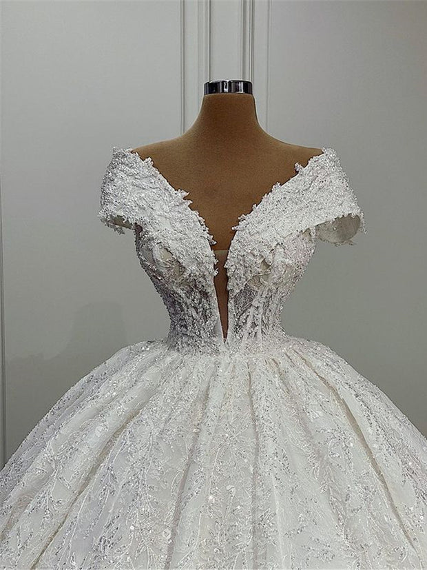 Sleeve Lace Beads Ball Gown Wedding Dresses 2021 Robe De Mariage Sexy Deep V Neck Wedding Gowns Vestido De Noiva