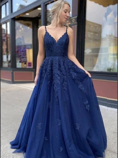 Navy Blue Tulle A-Line V-neck Lace Long Prom Dresses, Evening Dress