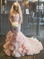2021 Luxury Mermaid Sweetheart Organza Long Lace Up Pink Layered Wedding Dresses