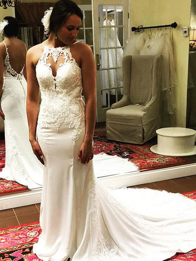 Mermaid Open Back Ivory Wedding Dress with Lace