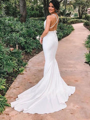 onlybridals Beach Mermaid Wedding Dresses Deep V Neck Criss Cross Straps Backless Simple Bridal Gowns vestidos de novia