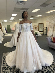 onlybridals  A-line Ivory Lace Applique Court Train Off The Shoulder Wedding Dress