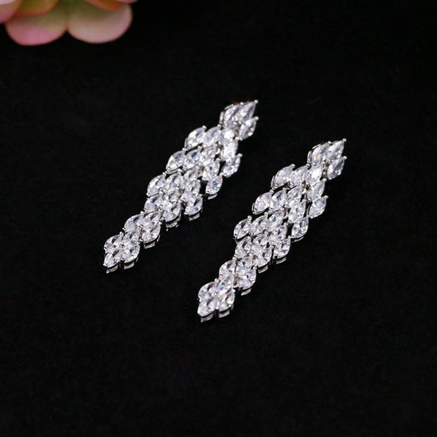 Light luxury tassel diamond necklace earring set bridal jewelry