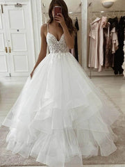 Spaghetti Long A-line Tulle Wedding Dresses Lace Wedding Dresses Popular Bridal Gown