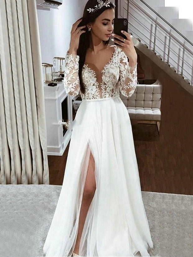 onlybridals Sexy Deep V Neck Side Slit Wedding Dresses with Long sleeves Lace Appliques Boho Tulle Bridal Wedding Gowns