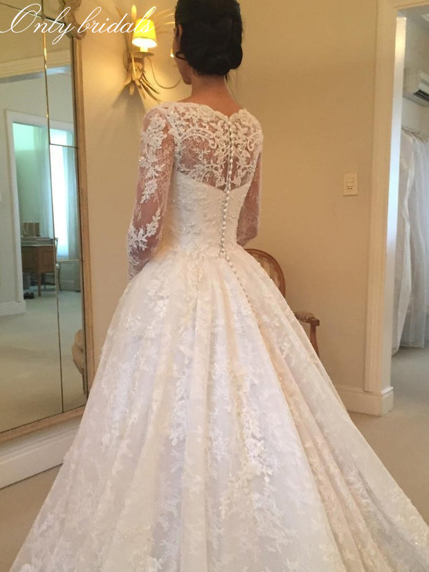 onlybridals White Lace A-Line Wedding Dresses 2019 Sheer Long Sleeve Wedding Gown Bride Dress Vestido de noiva