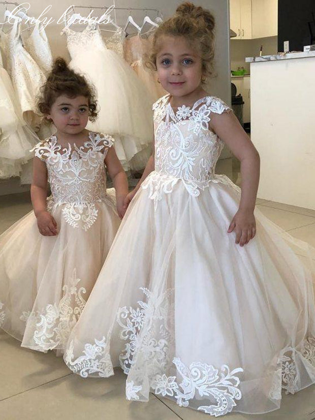 onlybridals O-Neck Sleeveless Lace Appliques Flower Girls Dresses V-Shape Back 2020 Simple Kids Formal Party Gowns - onlybridals