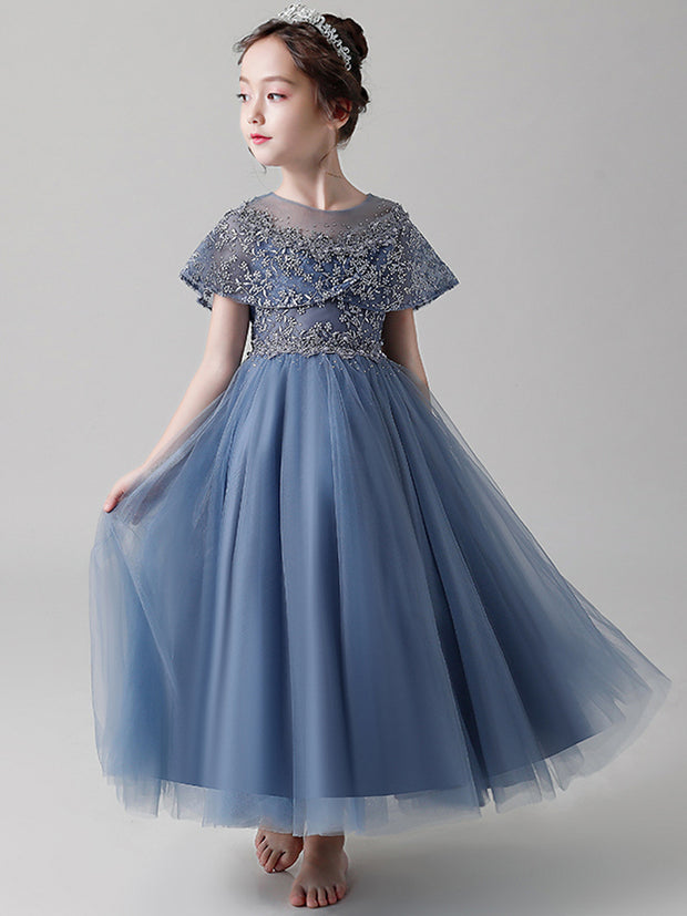 onlybridals Blue Backless Flower Girl Dress Lace Applique Bead Girl Beauty Pageant Dress Long Sleeve Tulle - The Only Love Wedding Dress