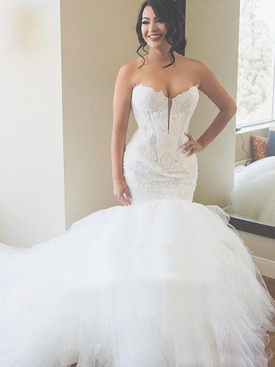 onlybridals Luxury Ivory Lace Mermaid Wedding Dresses Sweetheart Appliques Puffy Tulle Ball Gown Wedding Dress Plus Size Bridal Gowns - onlybridals