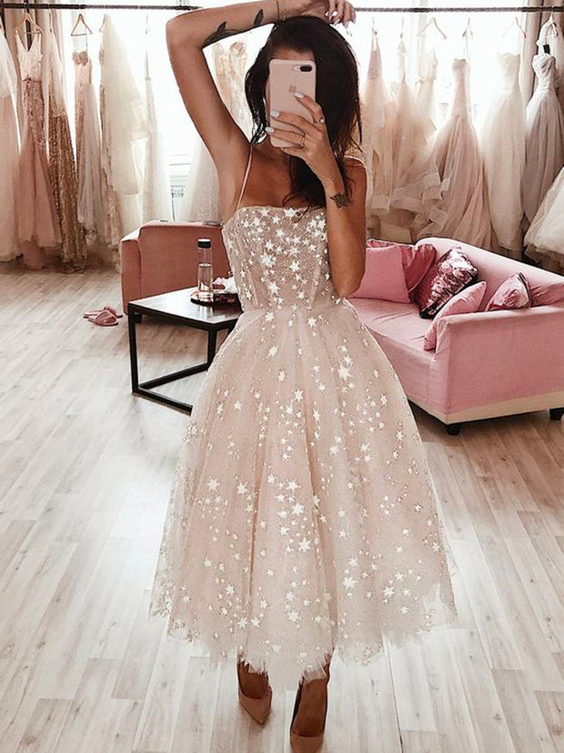 onlybridals Stars Ombre Midi Wedding Dress by Boom Blush. Sparkly Celestial Wedding Gown with Stars - The Only Love Wedding Dress