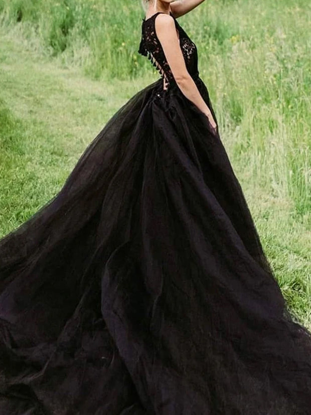 Black V-Neck Backless Ball Gown Wedding Dresses Tulle Knit Bridal Gowns