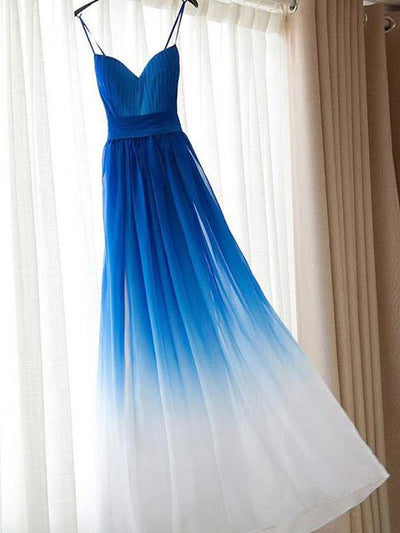 onlybridals Ombre Royal Blue Simple Spaghetti Straps Prom Dresses, Bridesmaid Dresses