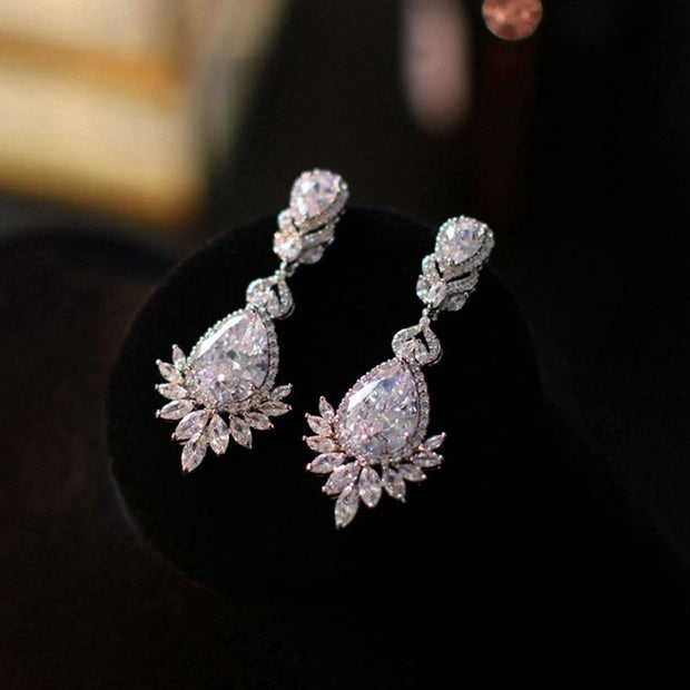 Exquisite super flash diamond drop earrings dress accessories