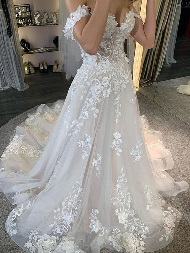 Off Shoulder Long A-line Ivory Lace Tulle Wedding Dresses, Country Wedding Dresses
