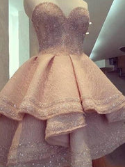 onlybridals Low Evening Dresses Ball Gown Sweetheart Lace Beaded Formal Long Elegant Evening Gown - onlybridals