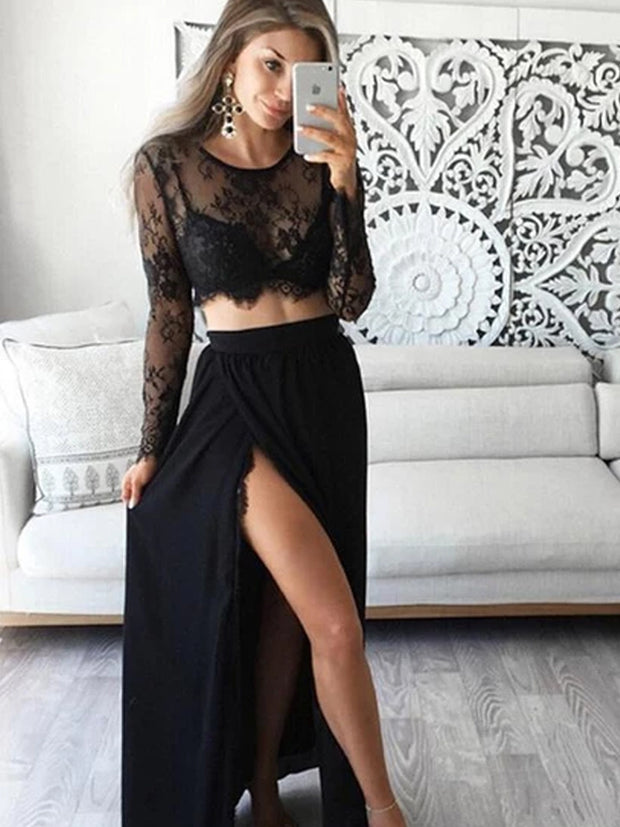 onlybridals Awesome A-Line Two Pieces Scoop Neckline Black Laced Prom Dresses With Long Sleeves - onlybridals