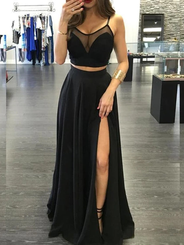 onlybridals See Through A-Line Two Pieces Sleeveless Side Slit Black Long Prom Dresses