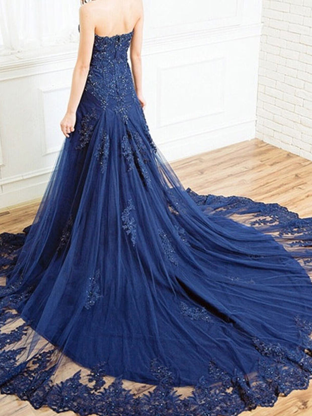 onlybridals Blue Evening Dresses Mermaid Sweetheart Tulle Lace Beaded Long Evening Gown Prom Dress