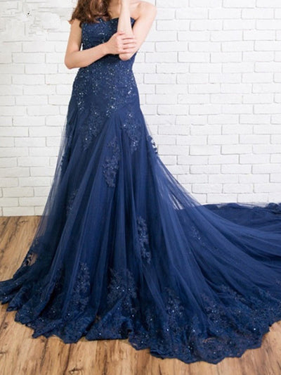 onlybridals Blue Evening Dresses Mermaid Sweetheart Tulle Lace Beaded Long Evening Gown Prom Dress - onlybridals
