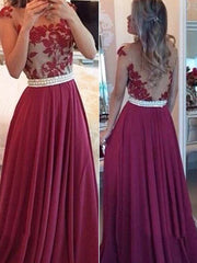 onlybridals Fashion Red Chiffon A-line Floor Length Prom Dresses, Party Dresses