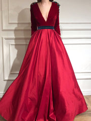 onlybridals Burgundy Evening Dresses A-line V-neck Long Sleeves Velvet Long Formal Evening Gown - onlybridals