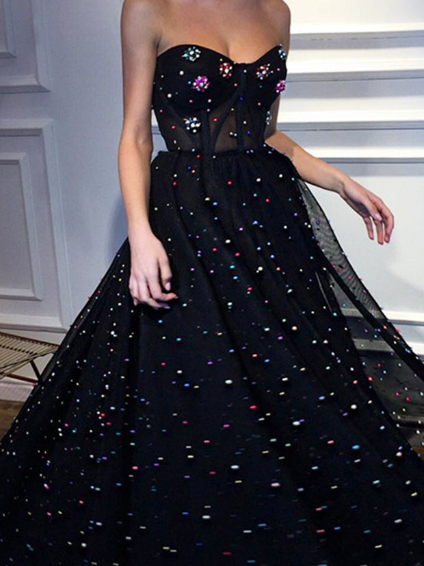 onlybridals Black Evening Dresses A-line Sweetheart Tulle Pearls Elegant Long Evening Gown Prom Dress