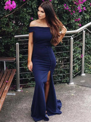 onlybridals Sheath Off Shoulder Navy Blue Side Slit Satin Custom Long Prom Dresses - onlybridals