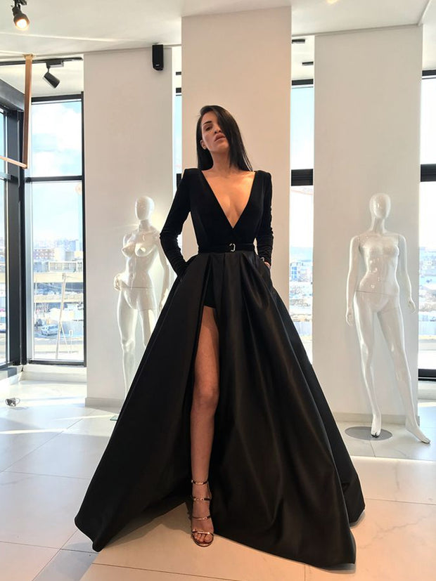 onlybridals Black Evening Dresses A-line V-neck Long Sleeves Slit Sexy Long Evening Gown Prom Dress
