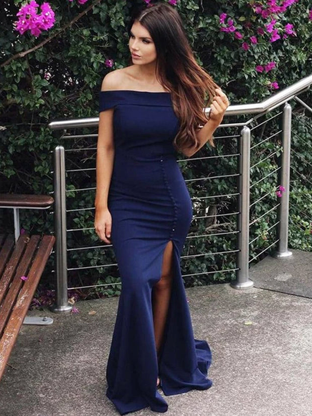 onlybridals Sheath Off Shoulder Navy Blue Side Slit Satin Custom Long Prom Dresses