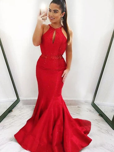 onlybridals Sexy Mermaid Halter Sleeveless Red Long Prom Dresses With Beading