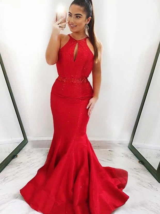 onlybridals Sexy Mermaid Halter Sleeveless Red Long Prom Dresses With Beading - onlybridals