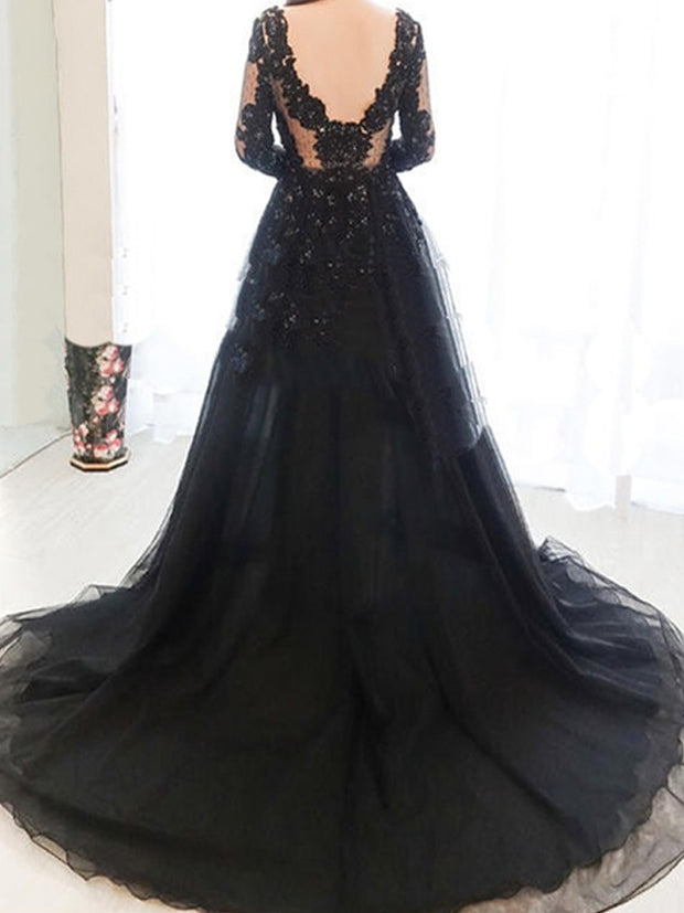 onlybridals Navy Blue Evening Dresses A-line V-neck Tulle Appliques Lace Beaded Long Evening Gown - onlybridals