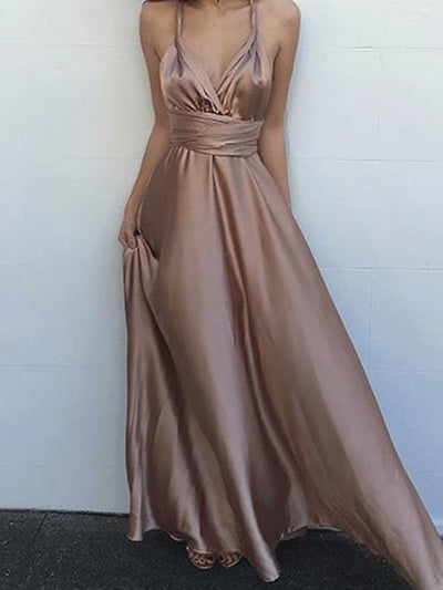 onlybridals Fashion Simple V-Neck Blush Criss-Cross Straps Prom Dresses With Pleats
