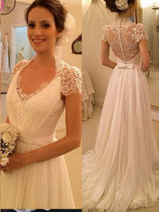 onlybridals Elegant Short Sleeves Sheer Mermaid Lace Bridal Gowns Vintage Wedding Dress