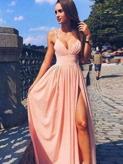 onlybridals Simple Pink Chiffon Spaghetti Straps V Neck Long Evening Dress, Prom Dress - onlybridals