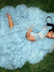 Tulle Maternity Robes Custom Made Sky Blue Women Long Dresses Photo Shoot Beach Birthday Party Bathrobe Sleepwear
