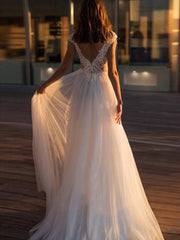 onlybridals Beach Wedding Dress Backless Floor Length Lace Top Bridal Gown Train Wedding Gowns - onlybridals