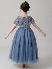 onlybridals Blue Backless Flower Girl Dress Lace Applique Bead Girl Beauty Pageant Dress Long Sleeve Tulle