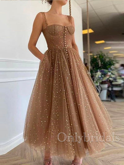 onlybridals Charming Sweetheart Tea Length Homecoming Dresses Champagne Tulle Short Prom Dress - onlybridals