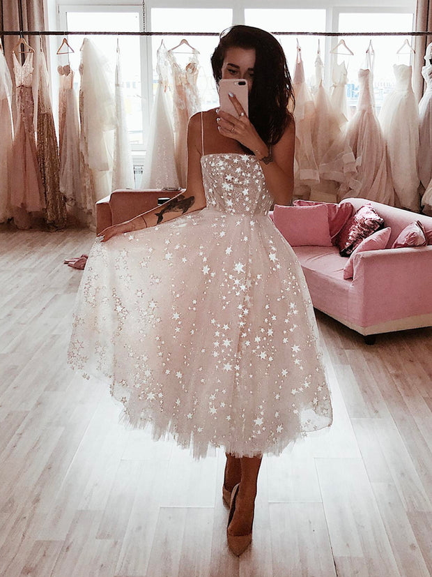 onlybridals Stars Ombre Midi Wedding Dress by Boom Blush. Sparkly Celestial Wedding Gown with Stars - onlybridals