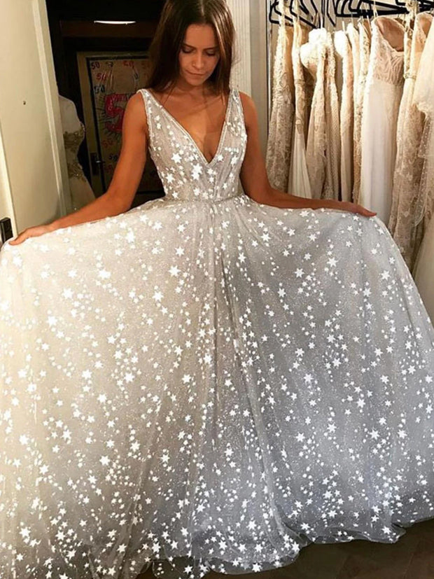 Stunning V-neck Tulle Starry Night Long Prom Wedding Dress