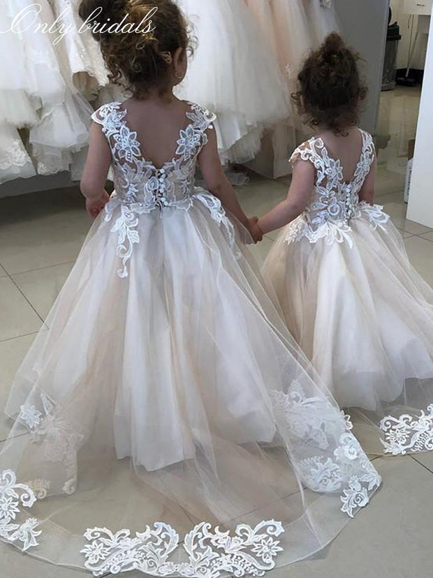 onlybridals O-Neck Sleeveless Lace Appliques Flower Girls Dresses V-Shape Back 2020 Simple Kids Formal Party Gowns - The Only Love Wedding Dress